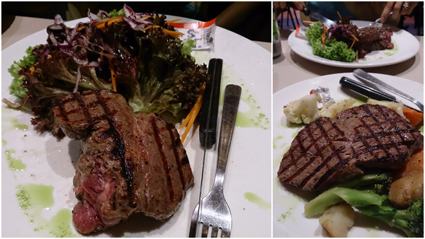 Angus tenderloin, one with salad, the other with mixed vegetables