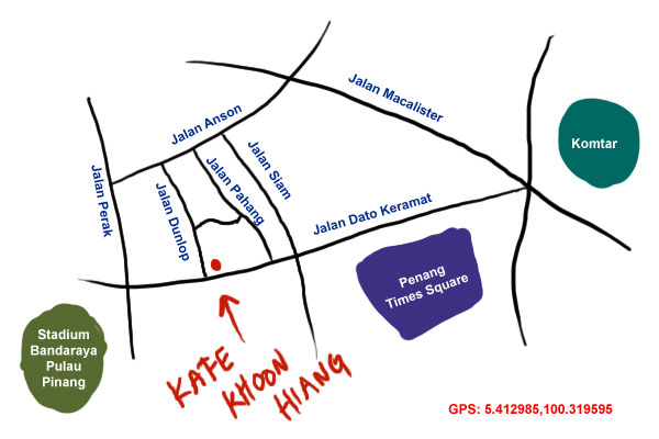 map to kafe khoon hiang, Jalan Dato Keramat