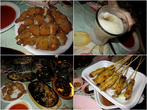 stuffed chicken wings, frozen beer, satay