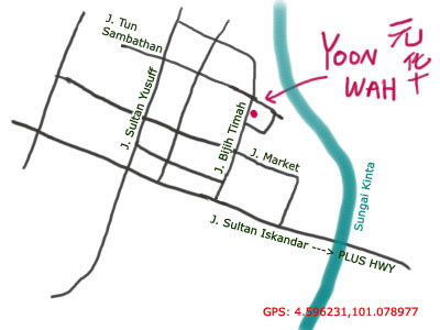map of kafe yoon wah at ipoh