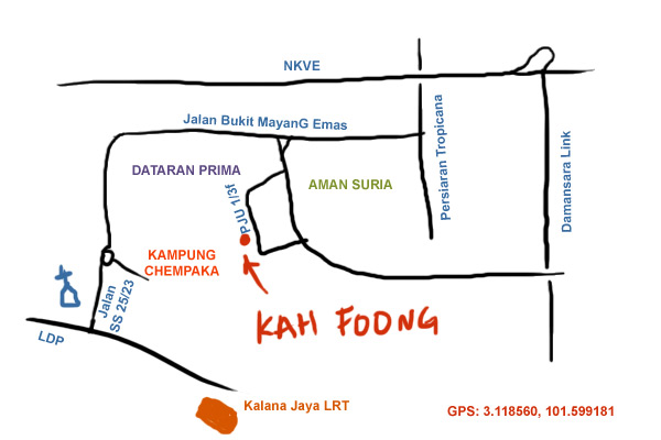 map to Kah Foong  pork shop at Aman Suria