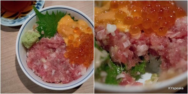 tuna belly , ume, ikura on rice