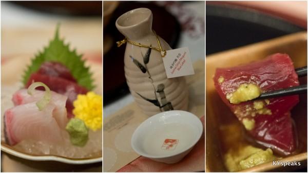 Maguru & Kanpachi sashimi with Izumibashi Junmai Ginjo Megumi Blue Label