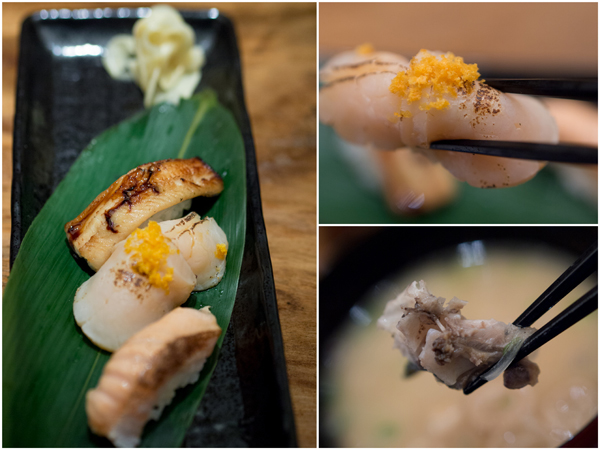 aburi sushi (seared sushi) - anago (conger eel), shake harasu (salmon belly), hotate (scallop)
