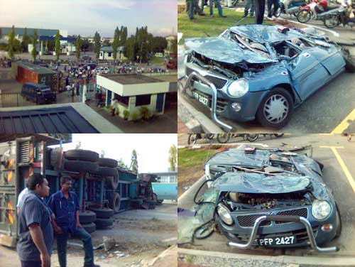 Kancil Squashed by Trailer outside factory