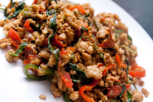kapraw pork - Thai style chili basil pork