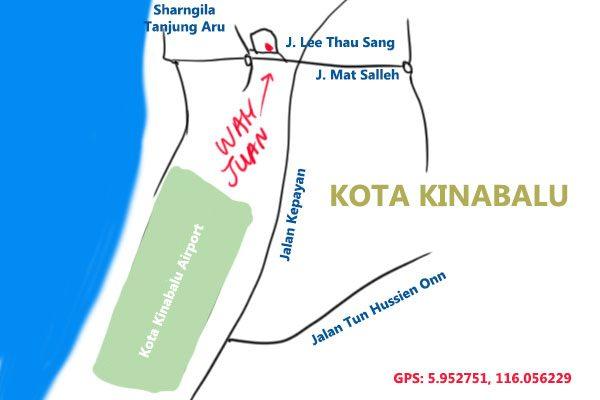 map to Kedai Kopi Wah Juan, Kota Kinabalu