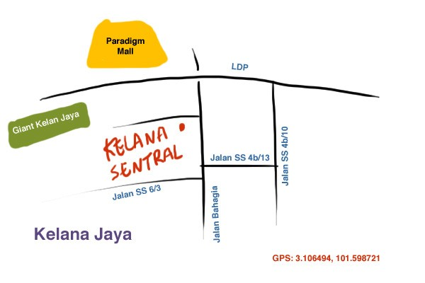 map to Kelana Sentral Service Apartment, Kelana Jaya