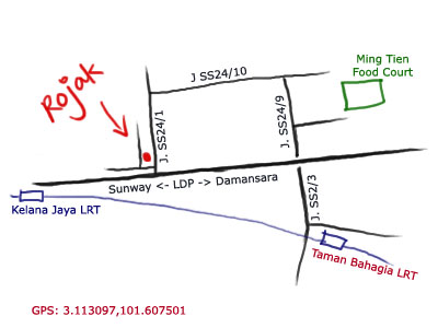 map of kelana jaya mamak rojak