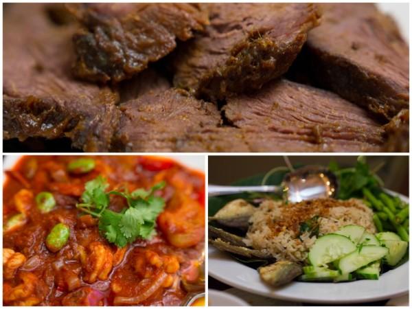 daging bakar, sambal udang petai, nasi goreng ikan masin