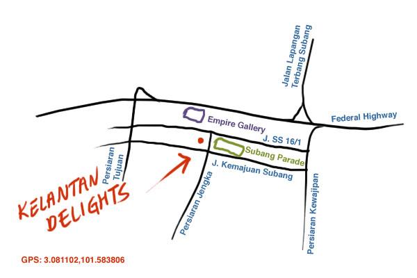 maps to Kelantan Delights, Subang Jaya