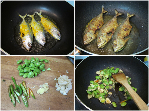 pan fry fish in oil, then stir fry petai with chili padi, garlic, ginger