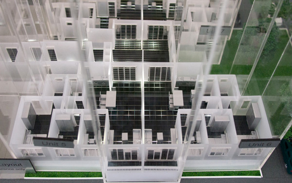 scaled model showing Ken Rimba condominium floor plan