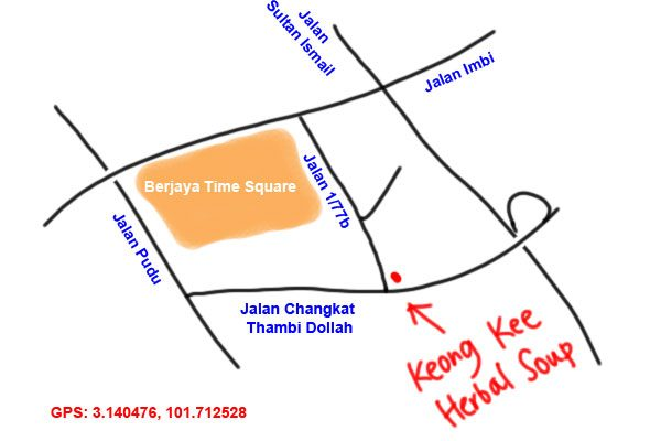 Keong Kee herbal soup, map