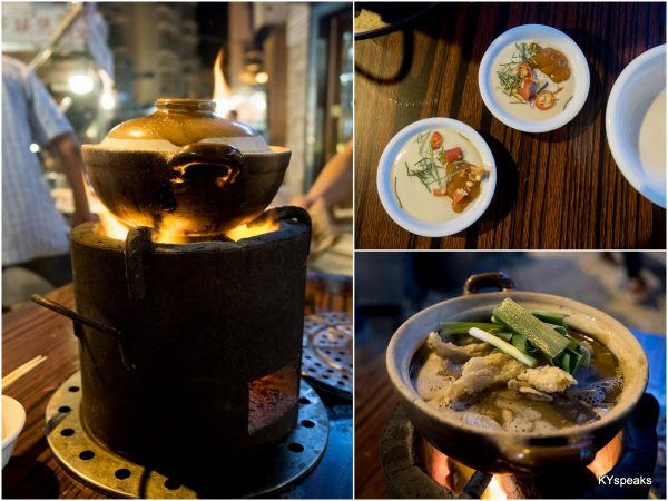 clay pot on charcoal fire on every table