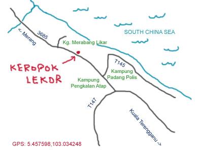 Kerepok Lekor at Kuala  Terengganu map