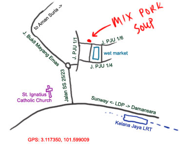 map of kampung cempaka's mixed pork soup