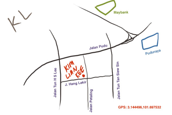 map to Kim Lian Kee at Petaling Street