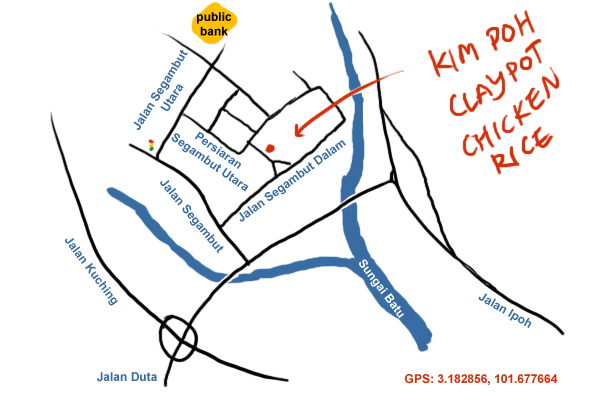 direction to Kim Poh Claypot Chicken Rice, Segambut