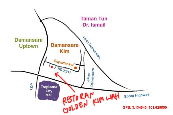 map to Golden Kim Wah kopitiam, damansara Kim