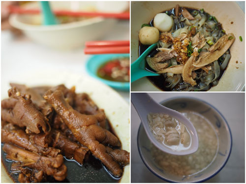 "braised chicken feet, dry kuih teow, peanut soup ""tong sui"""