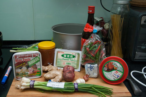ingredients for kimchi jiggae