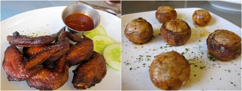 chicken wings, baked mushroom