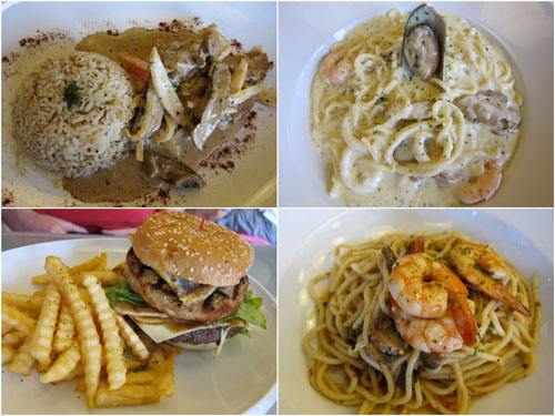 beef stroganoff, seafood cream sauce pasta, big daddy burger, aglio olio prawns