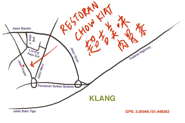 location map of Chow Kiat bak kut teh, Klang