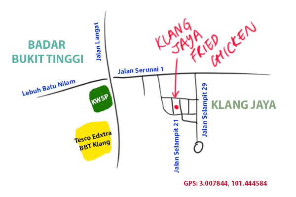 map to Klang Jaya fried chicken