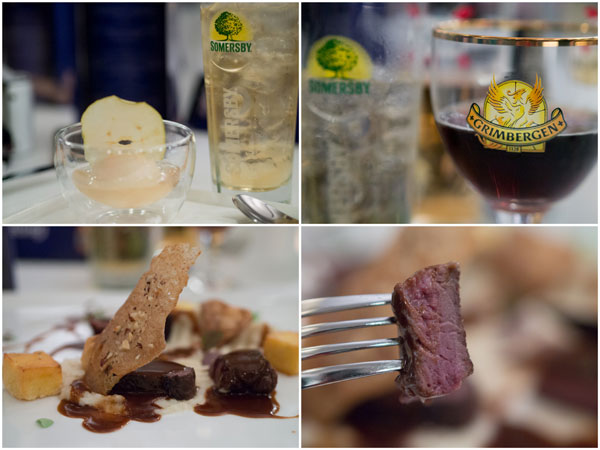 Floating Somersby Apple Cider Sorbet, Roasted Venison Tenderloin