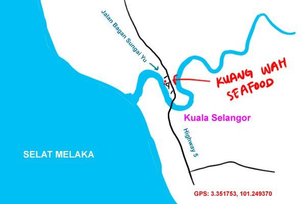 map to Kuang Wah seafood, Kuala Selangor