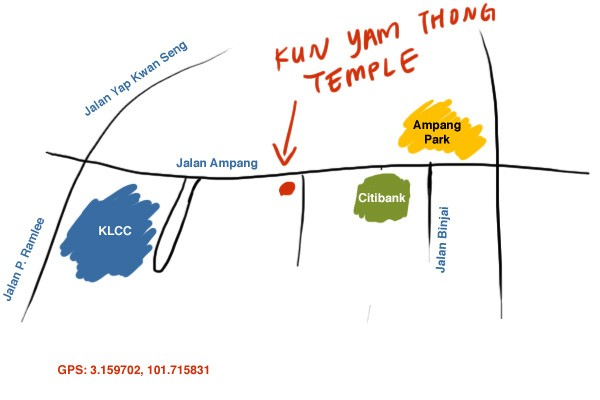 map to Kun Yam Thong temple at Jalan Ampang