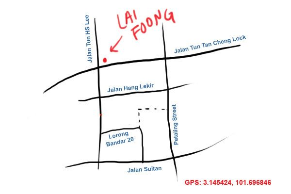 map to Lai Foong kopitiam, KL