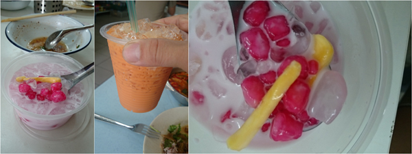 Thai ice tea for drinks, red ruby for dessert