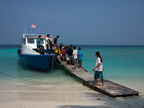 arriving at Redang Lang Island Resort's Jetty