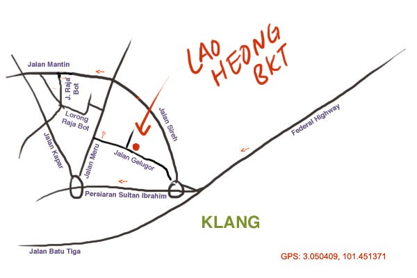 map to Lao Heong bak kut teh, Klang