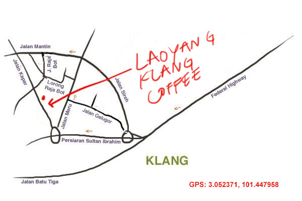 Map to Laoyang Klang Coffee