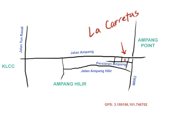 map to Las Carretas, Ampang