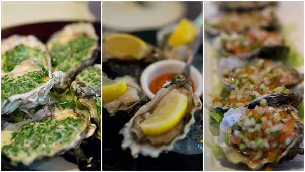fresh oysters in different flavors