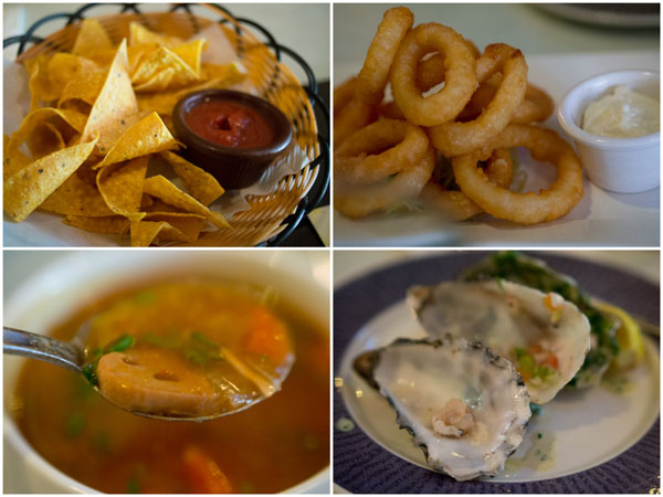 chips and salsa, squid rings, oxtail soup