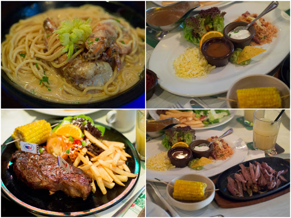 prawn spaghetti, grain fed t-bone steak, beef fajitas