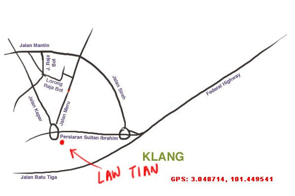 map to Law Tian 24 hour restaurant