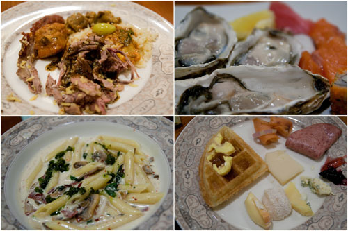 pasta was made by chef Antoine, and those Belgium waffles were awesome!