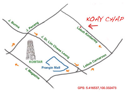 map to Lebuh Kimberley koay chap stall