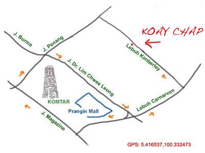 map to Lebuh Kimberley koay chap stall
