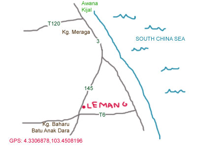 map to lemang stalls at kijal, terengganu