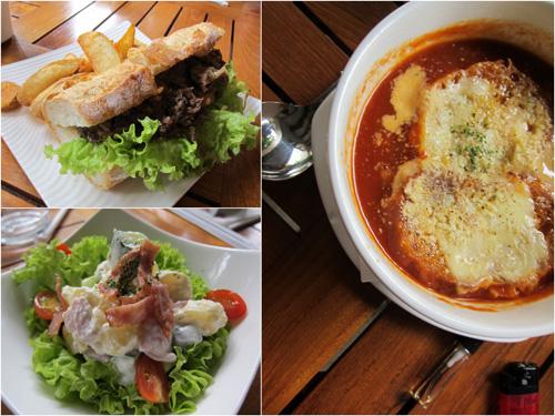 teriyaki beef sandwich, salad, tomato soup