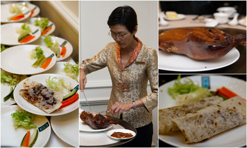 peking duck served with steamed sesame pancakes