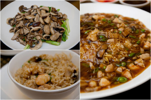 stir-fried assorted mushroom and asparagus, hokkien fried rice
